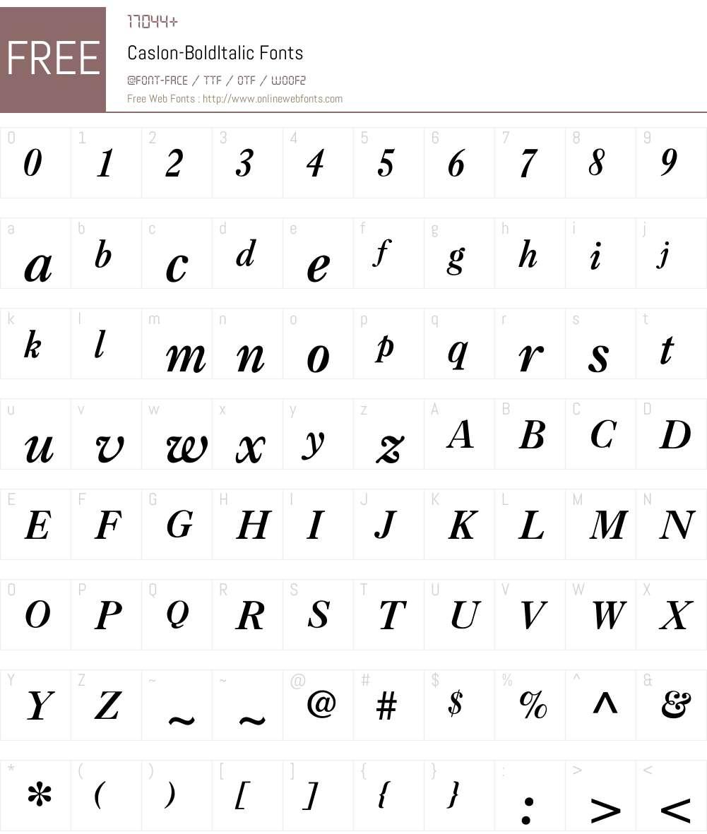 Caslon-BoldItalic Font Screenshots