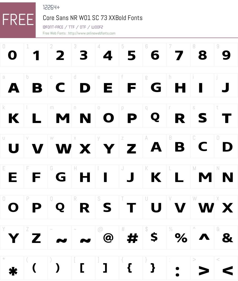 CoreSansNRW01-SC73XXBold Font Screenshots