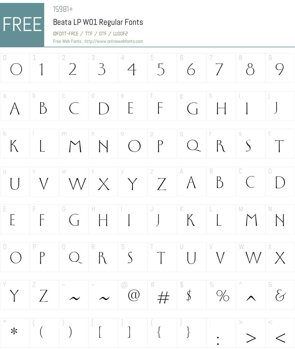 BeataLPW01-Regular Font Screenshots