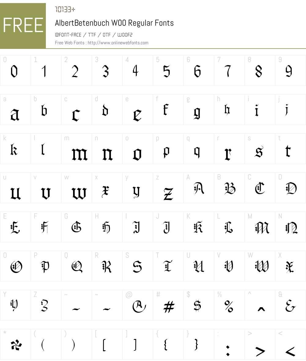 AlbertBetenbuchW00-Regular Font Screenshots