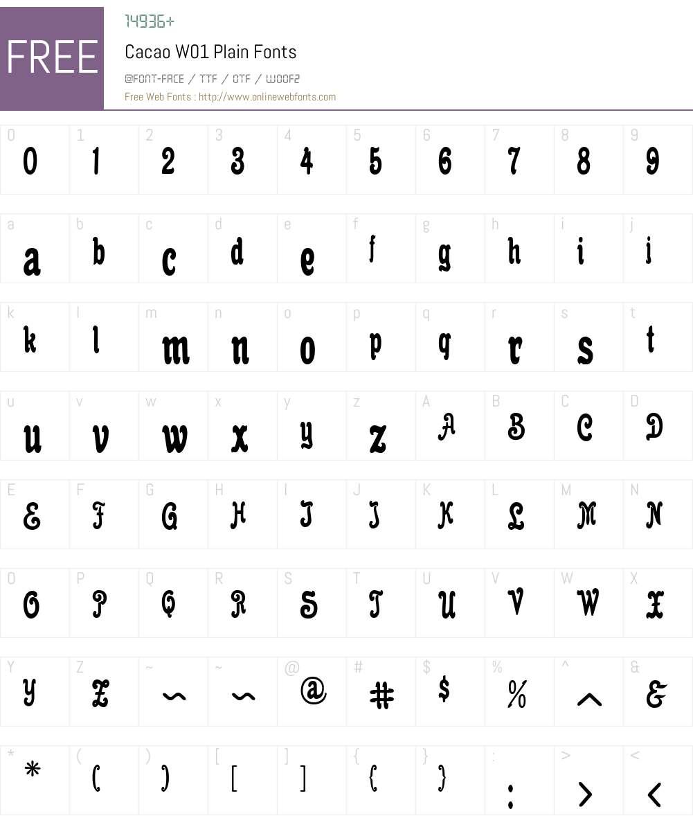 CacaoW01-Plain Font Screenshots