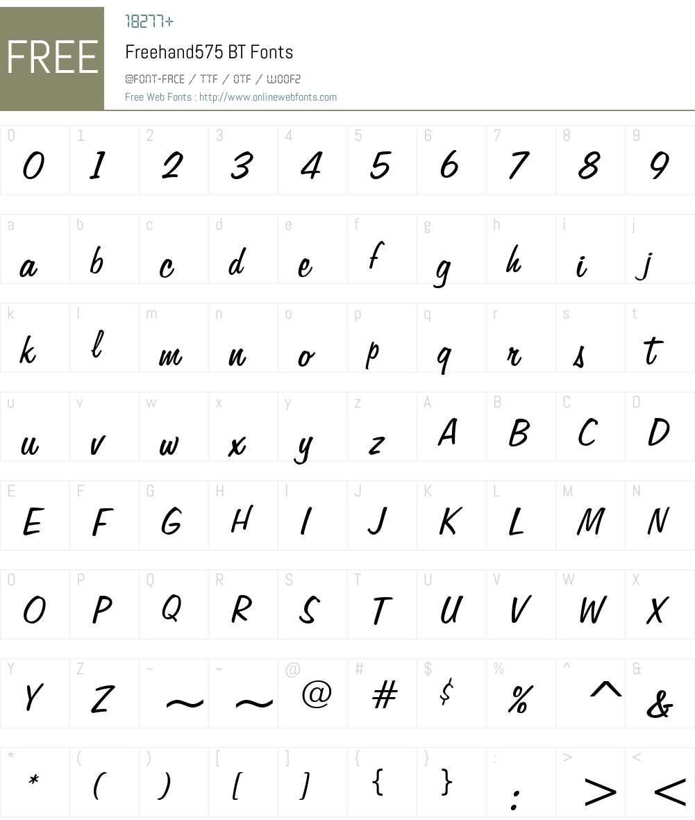 Freehand575 BT Font Screenshots