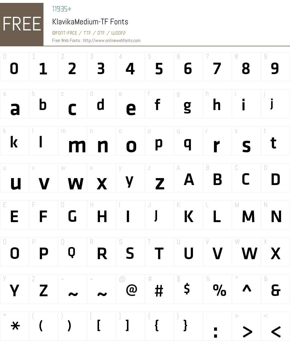 Klavika Medium Font Screenshots