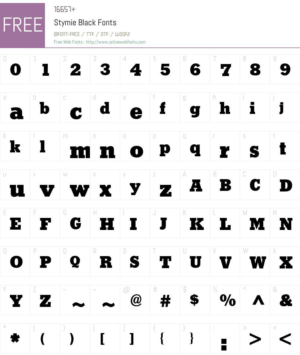 Stymie BQ Font Screenshots