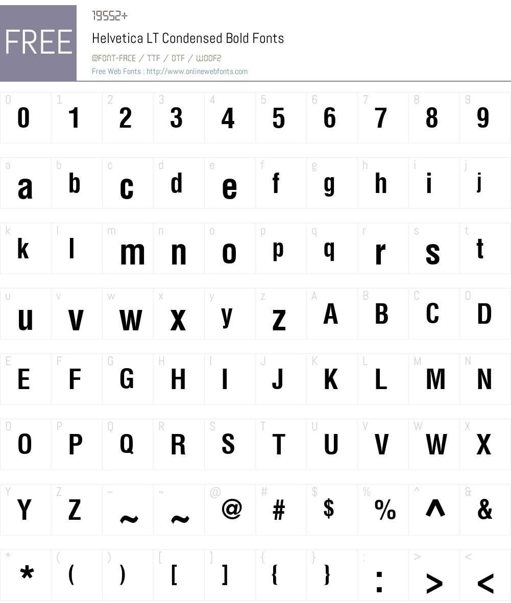 Helvetica LT Condensed Font Screenshots