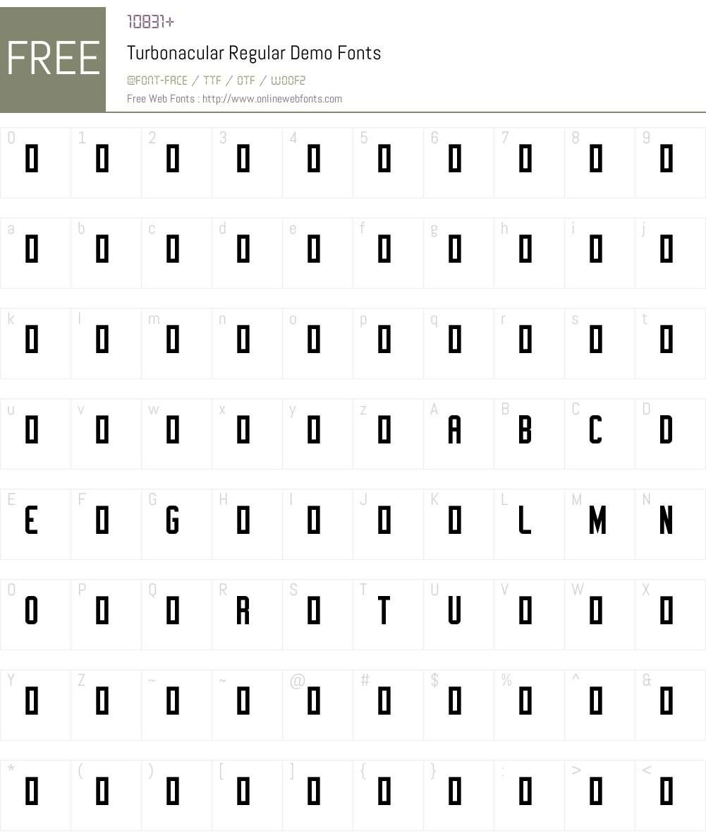Turbonacular Demo Font Screenshots