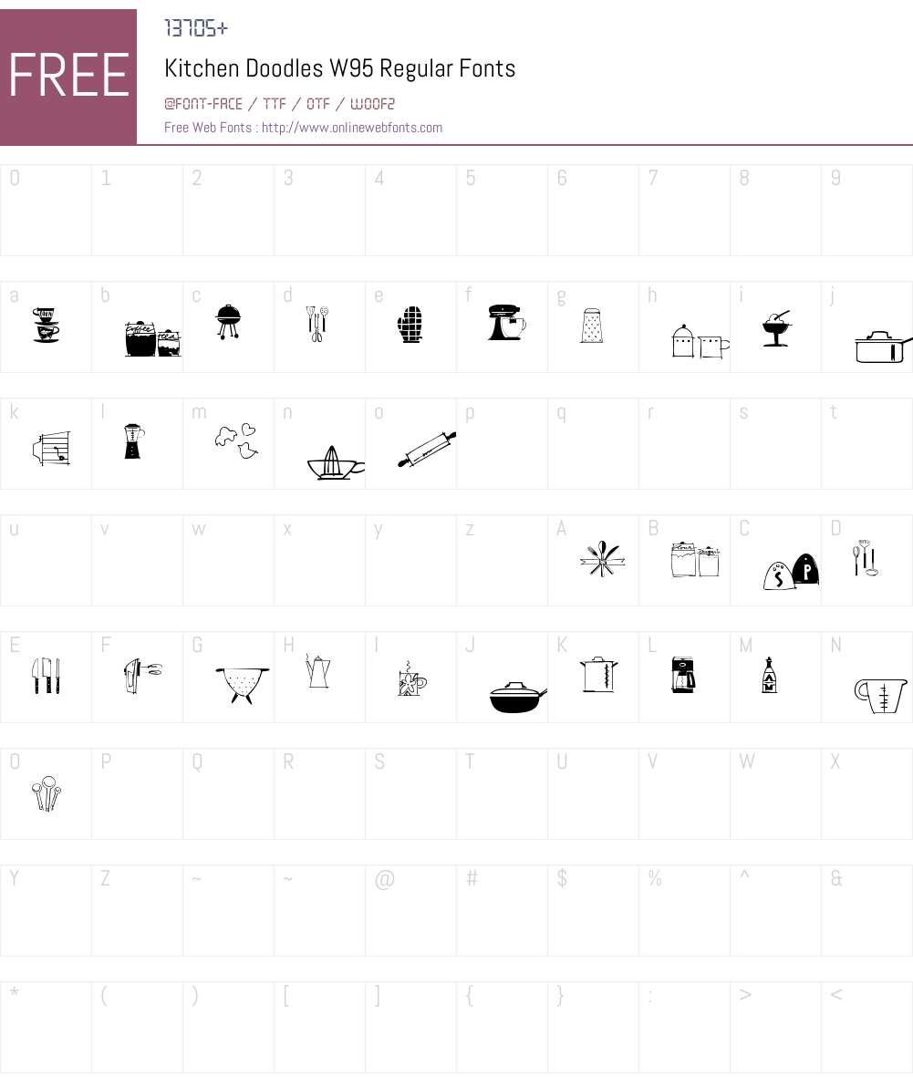 KitchenDoodlesW95-Regular Font Screenshots