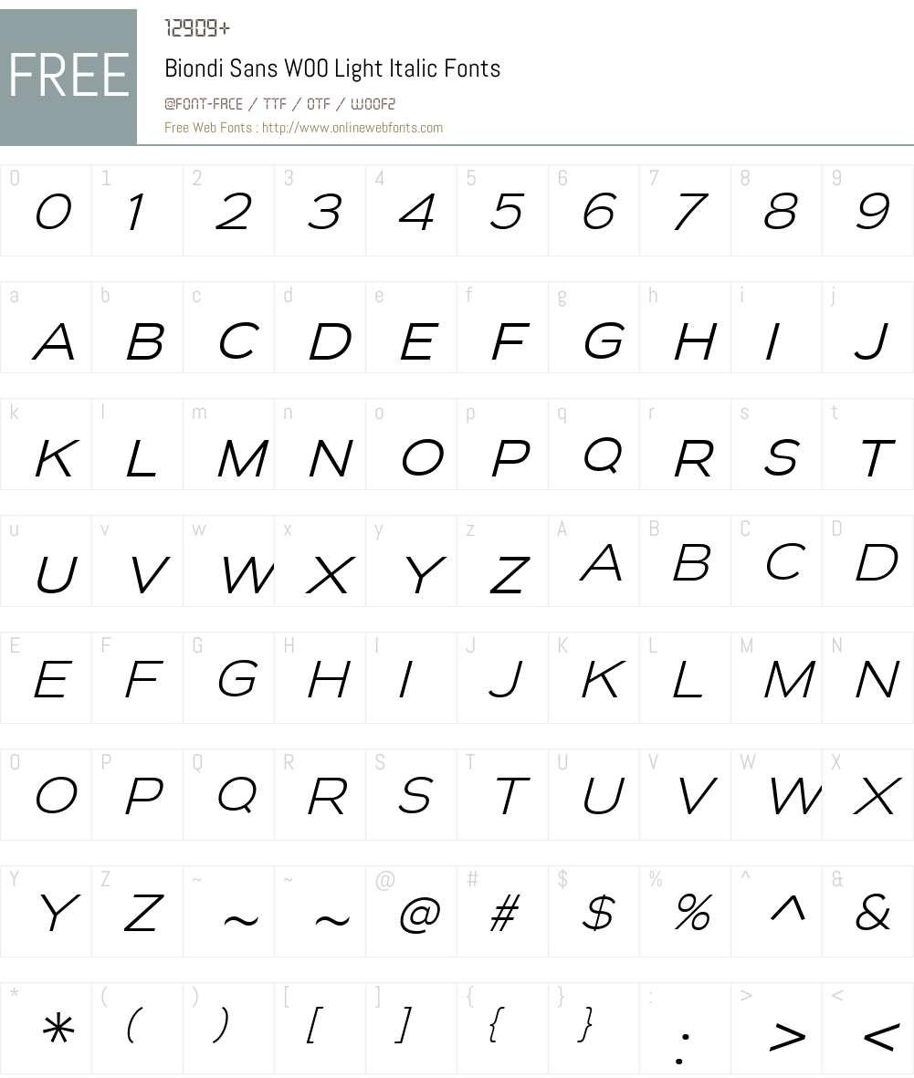 BiondiSansW00-LightItalic Font Screenshots