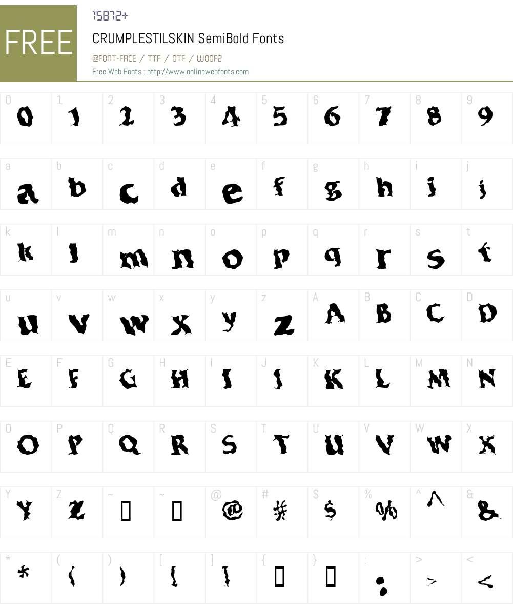 CRUMPLESTILSKIN Font Screenshots