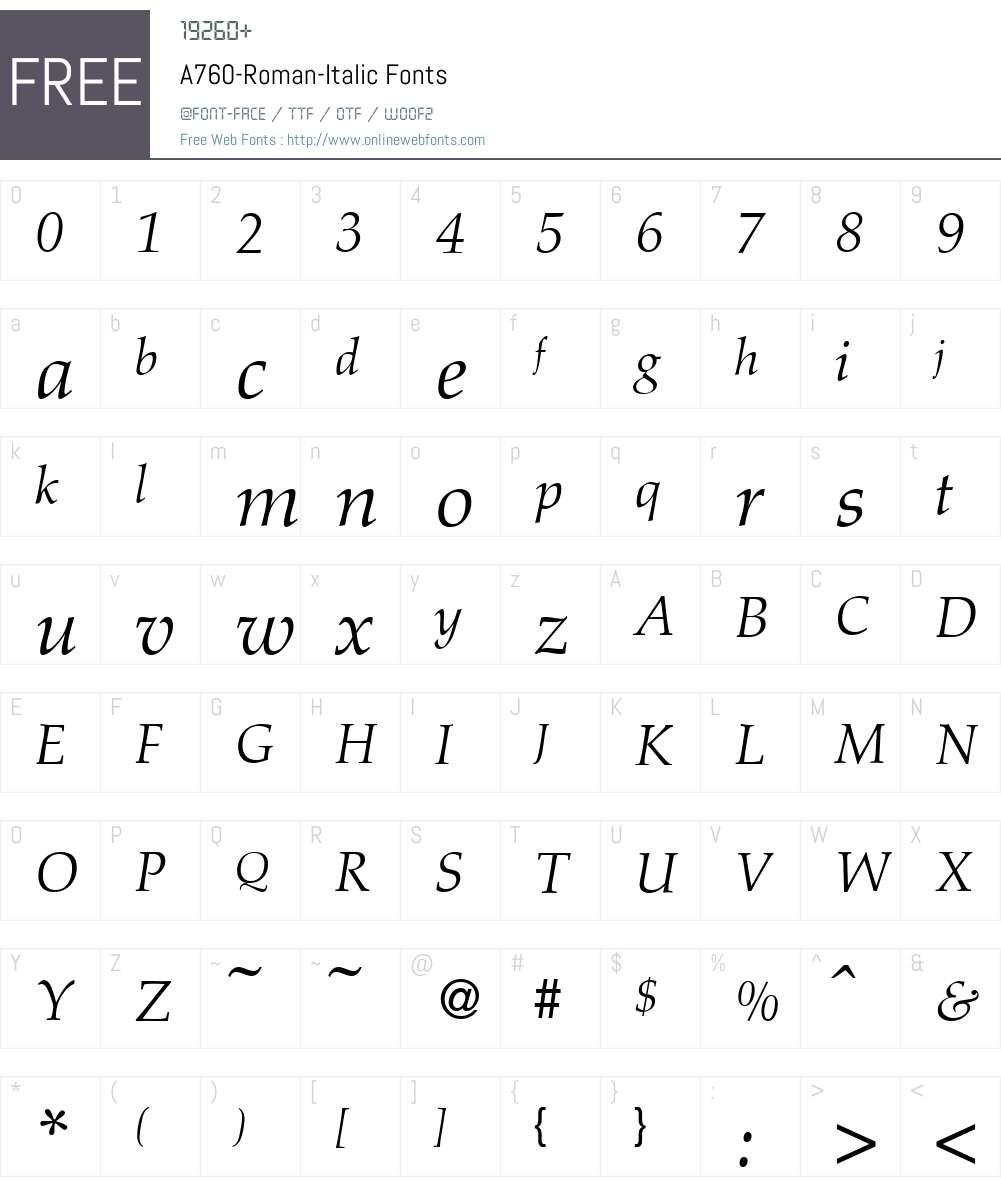 A760-Roman Font Screenshots