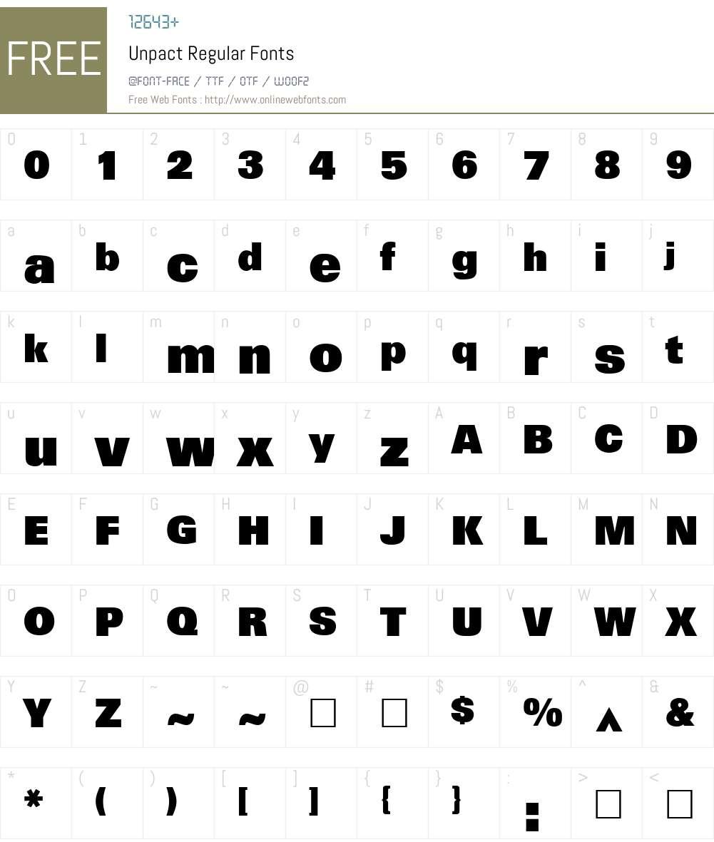 Unpact Font Screenshots
