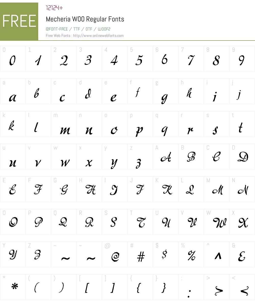 MecheriaW00-Regular Font Screenshots