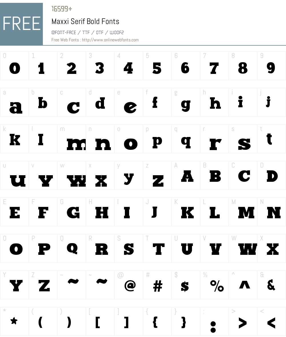 Maxxi Serif Font Screenshots