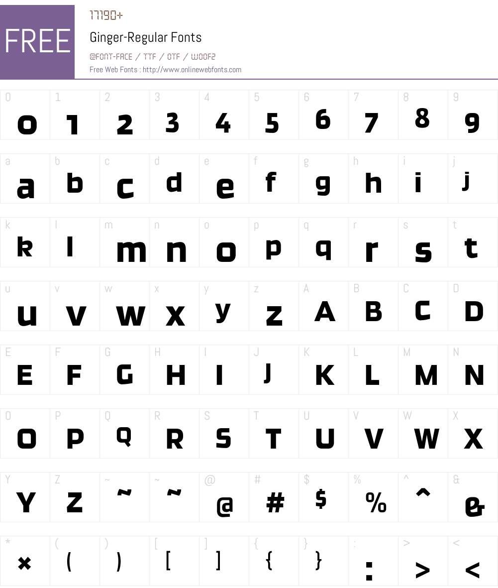 Ginger-Regular Font Screenshots
