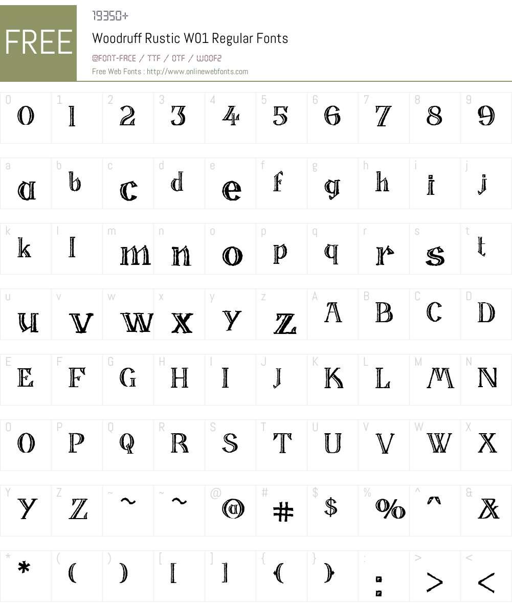 WoodruffRusticW01-Regular Font Screenshots