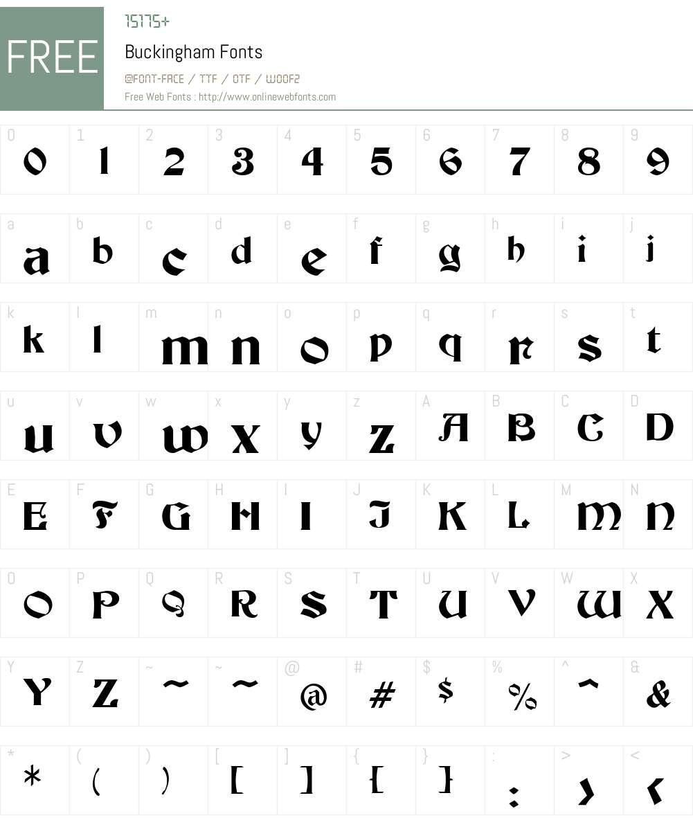 Buckingham Font Screenshots