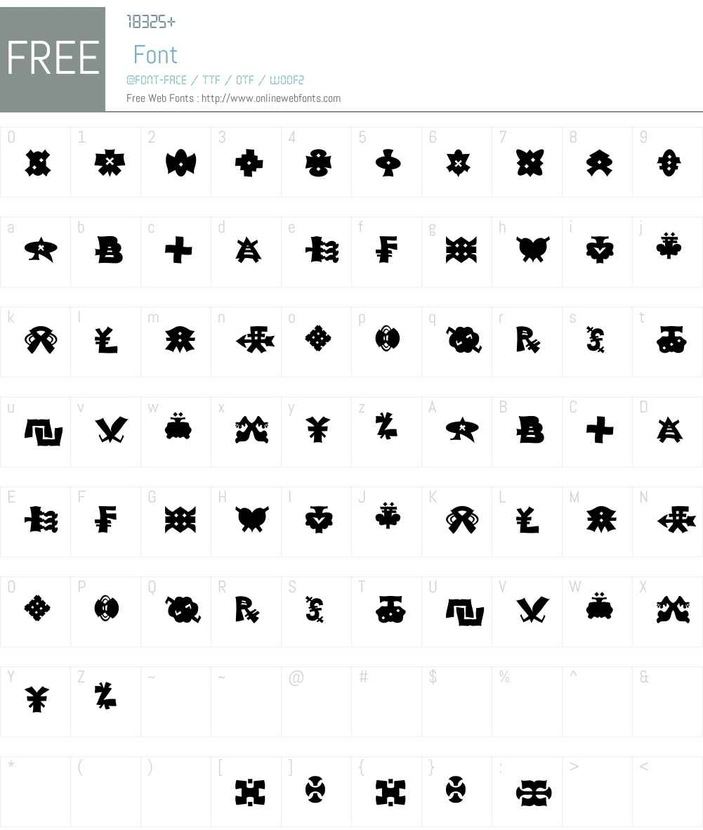 AlienAlphabetW95-Regular Font Screenshots
