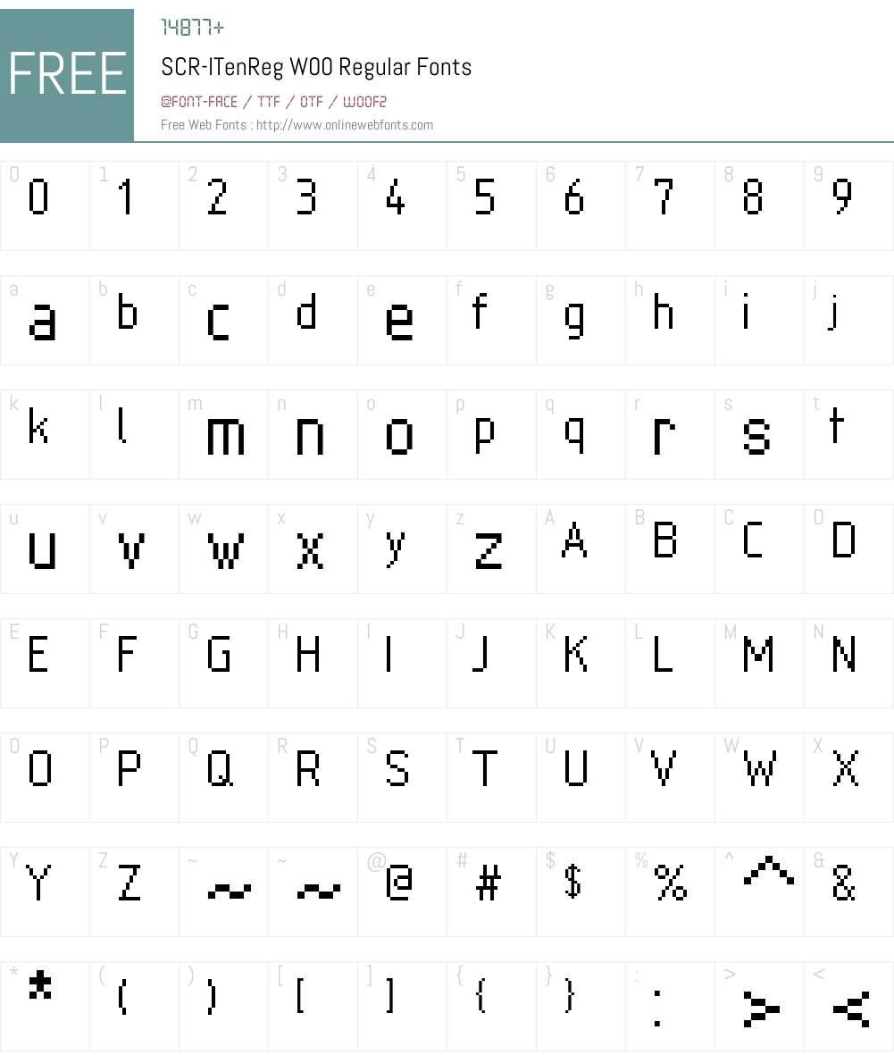 SCR-I Font Screenshots