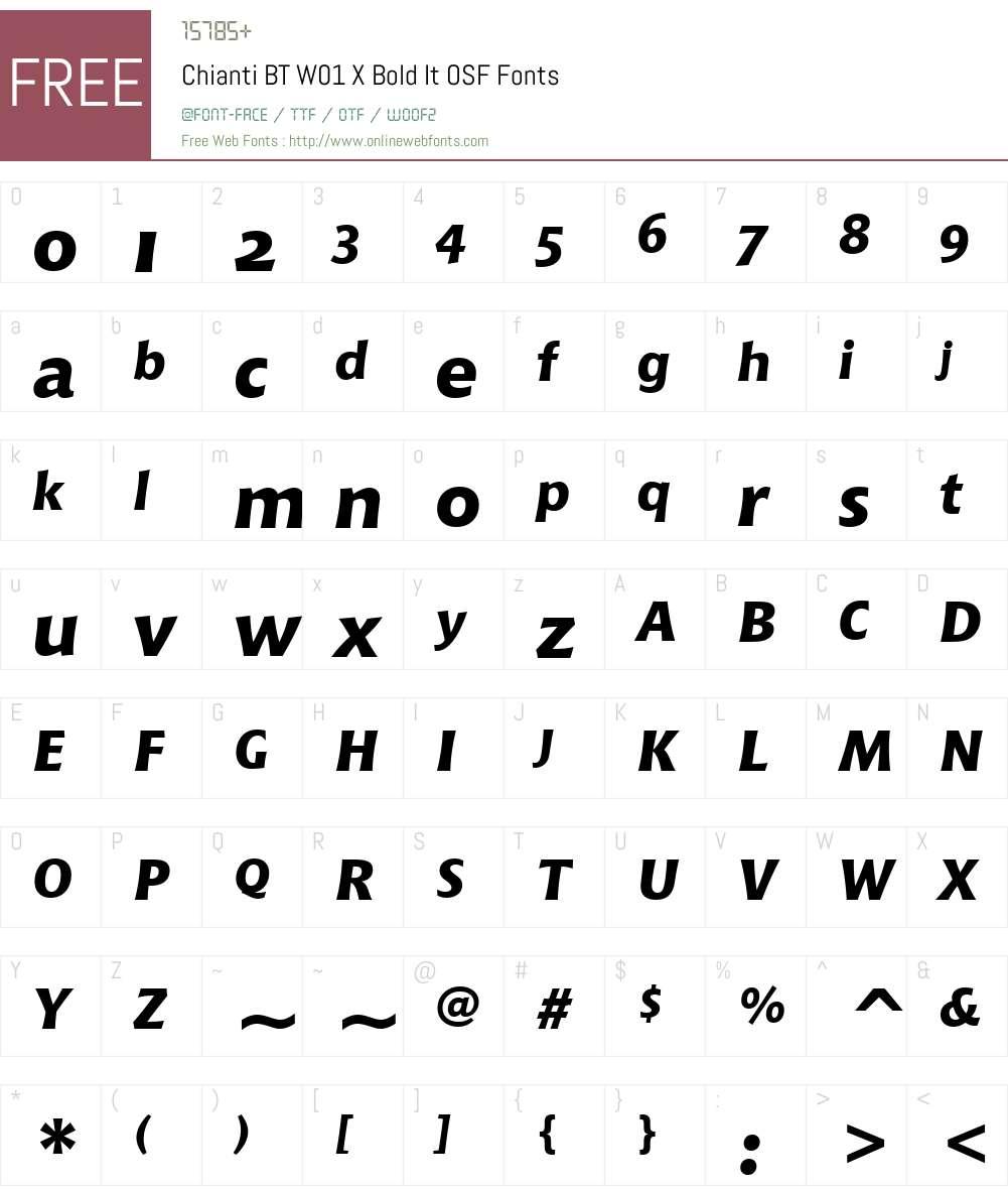 ChiantiBTW01-XBoldItOSF Font Screenshots