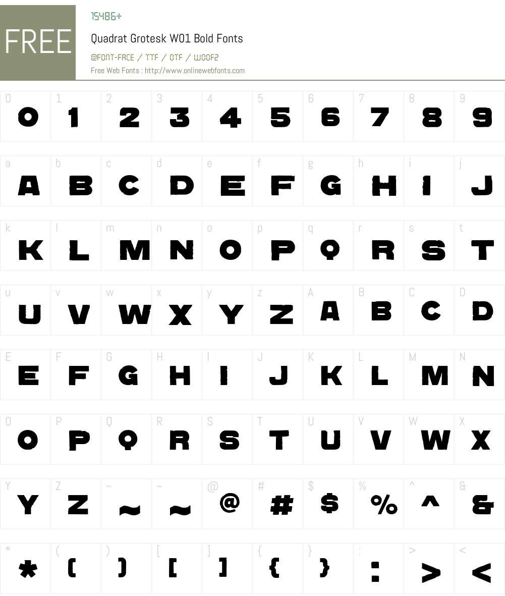 QuadratGroteskW01-Bold Font Screenshots