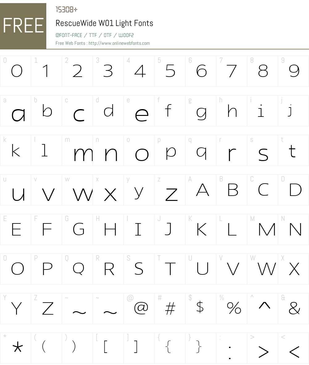 RescueWideW01-Light Font Screenshots