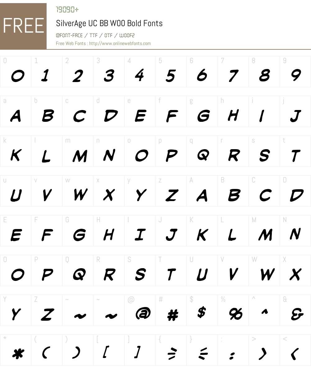 SilverAgeUCBBW00-Bold Font Screenshots