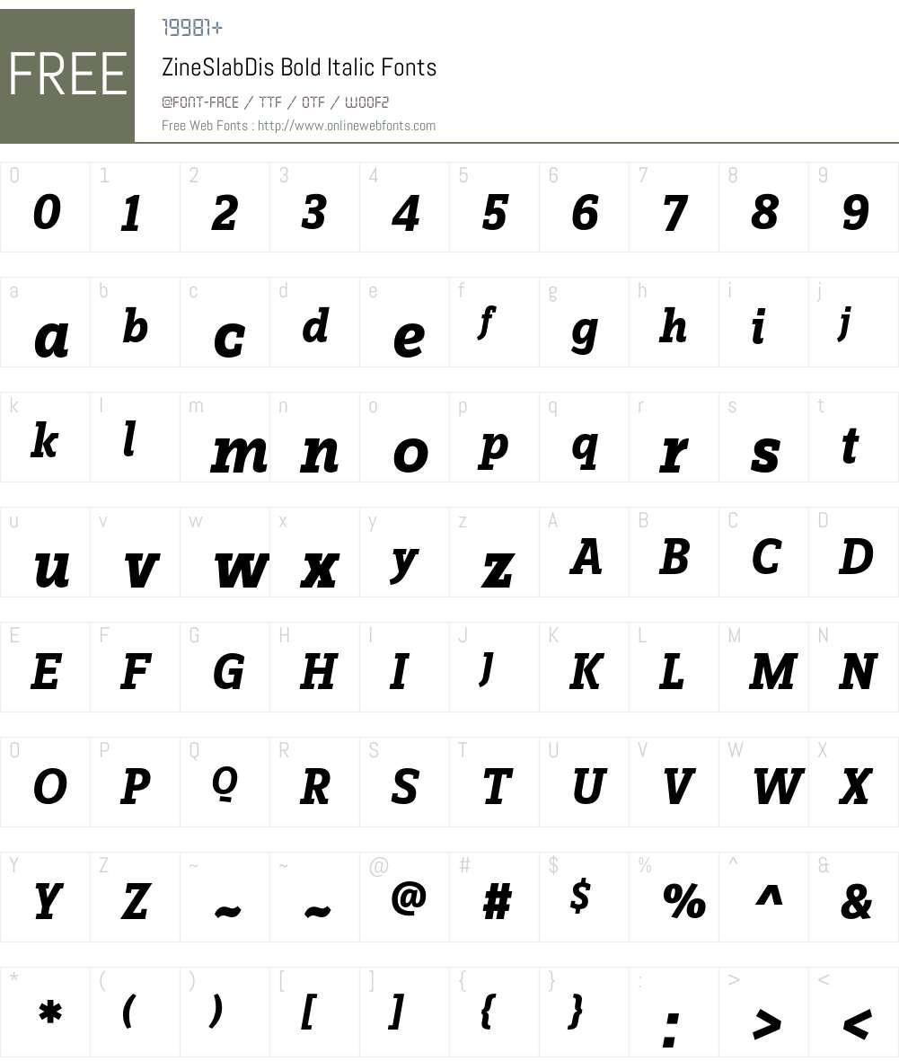 ZineSlabDis Font Screenshots