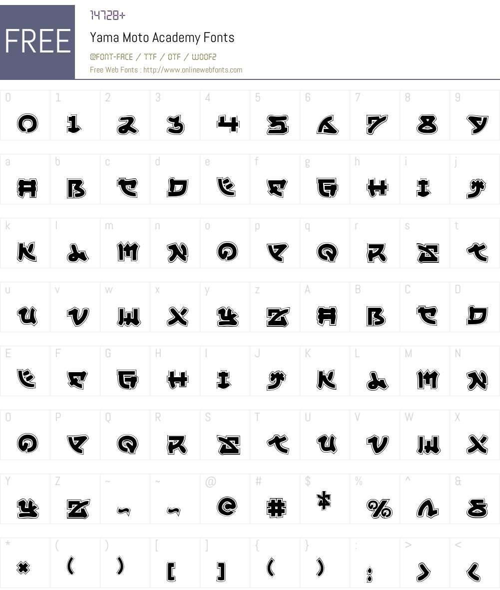 Yama Moto Academy Font Screenshots