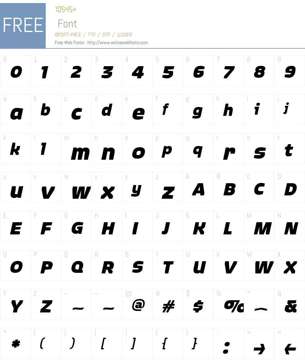QuagmireW00-BlackItalic Font Screenshots