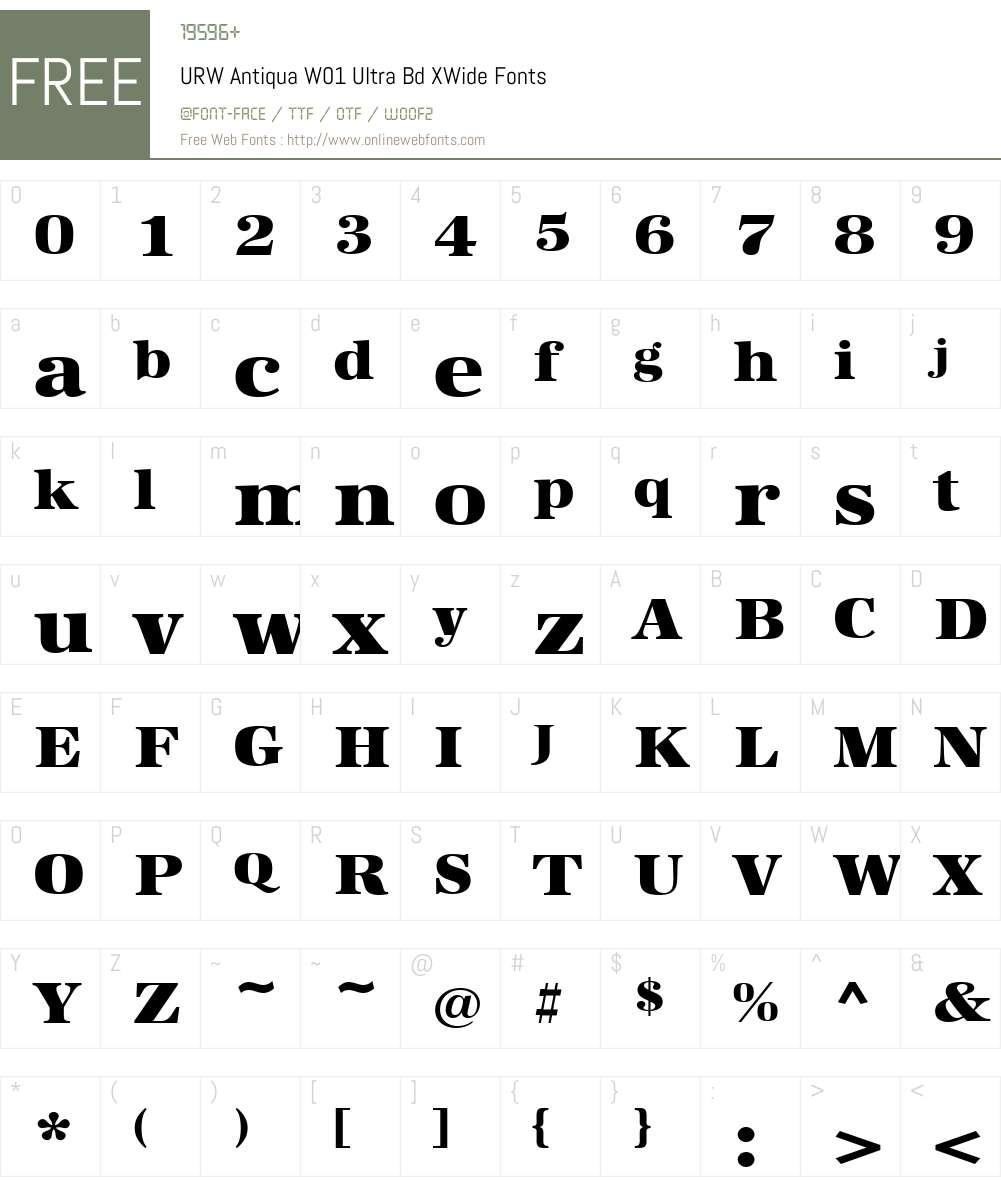 URWAntiquaW01-UltraBdXWide Font Screenshots