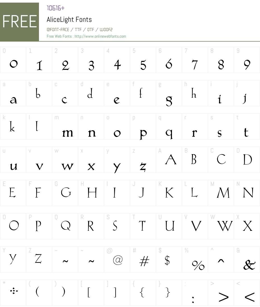 AliceLight Font Screenshots