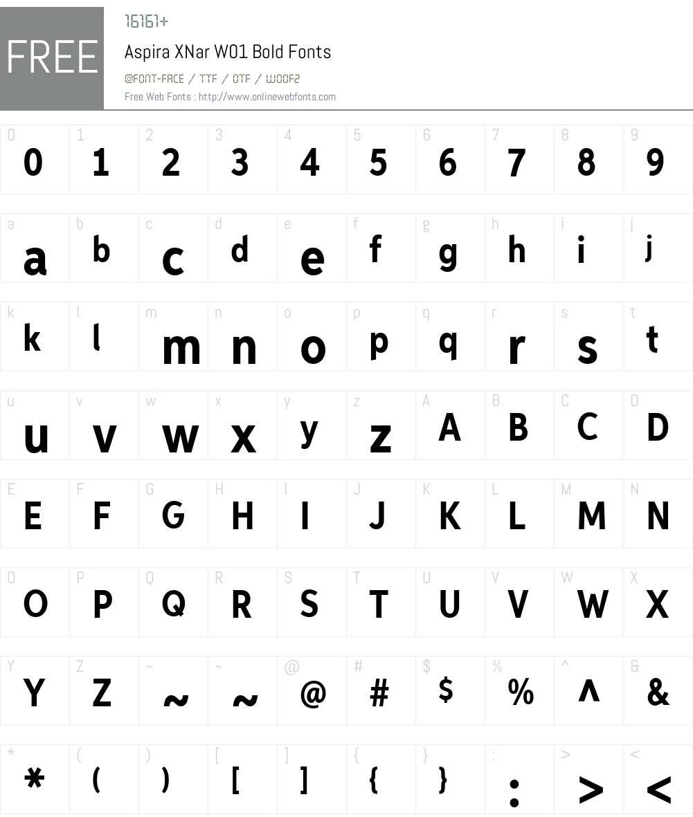 AspiraXNarW01-Bold Font Screenshots