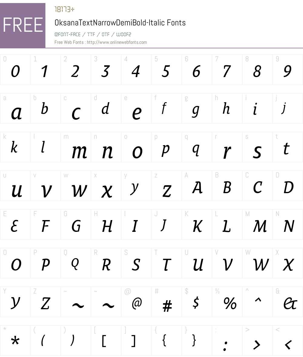 Oksana Text Narrow DemiBold Font Screenshots