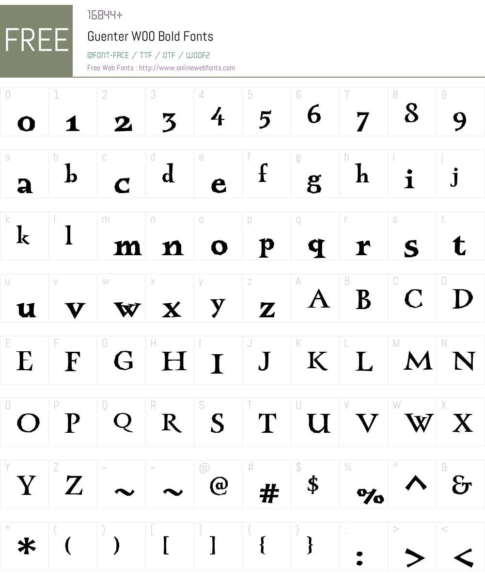 GuenterW00-Bold Font Screenshots