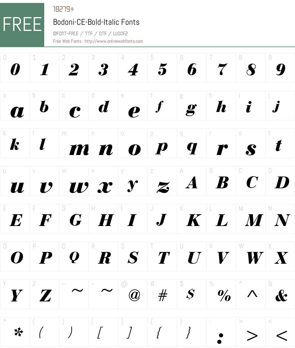 Bodoni-CE-Bold Font Screenshots