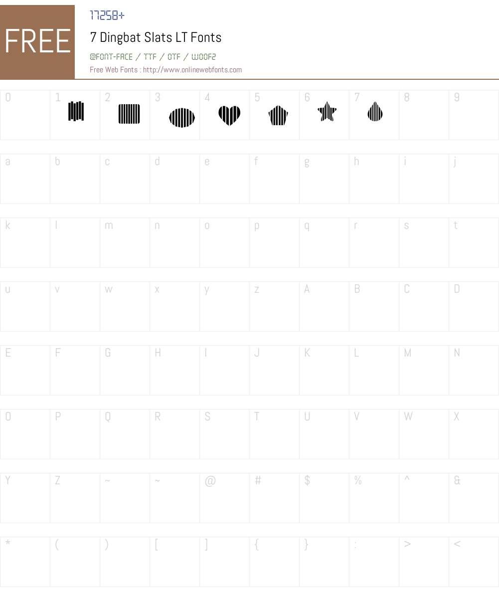 7 Dingbat Slats LT Font Screenshots