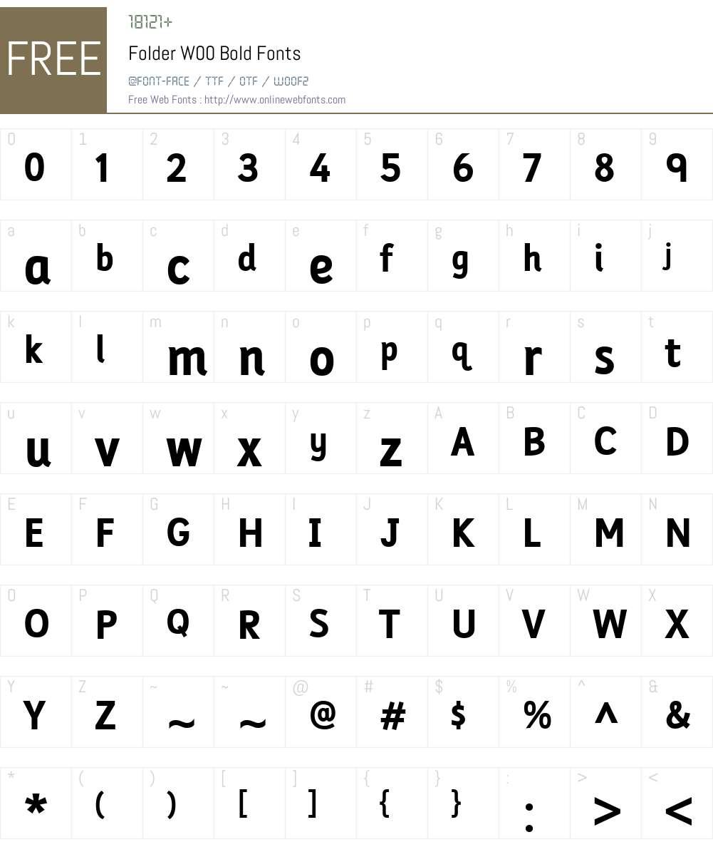 FolderW00-Bold Font Screenshots