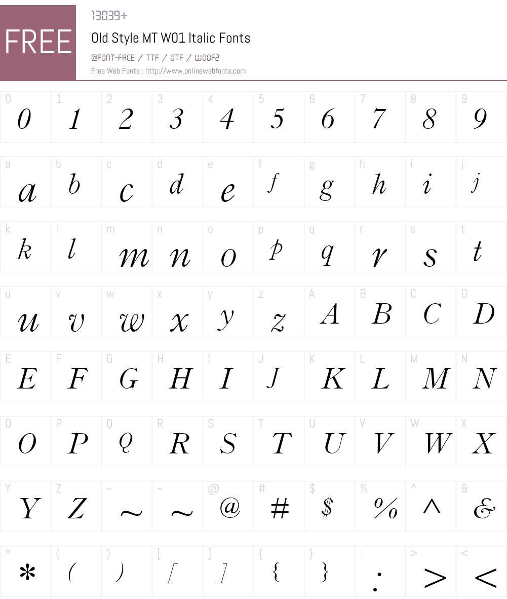 OldStyleMTW01-Italic Font Screenshots