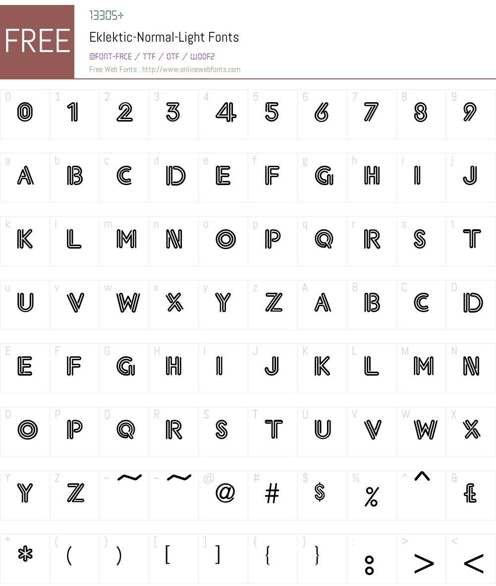 Eklektic-Normal-Light Font Screenshots