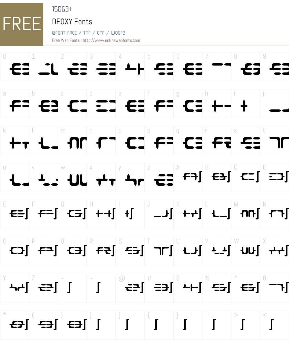 DEOXY Font Screenshots