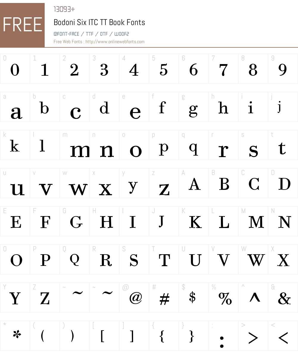 Bodoni Six ITC TT Font Screenshots