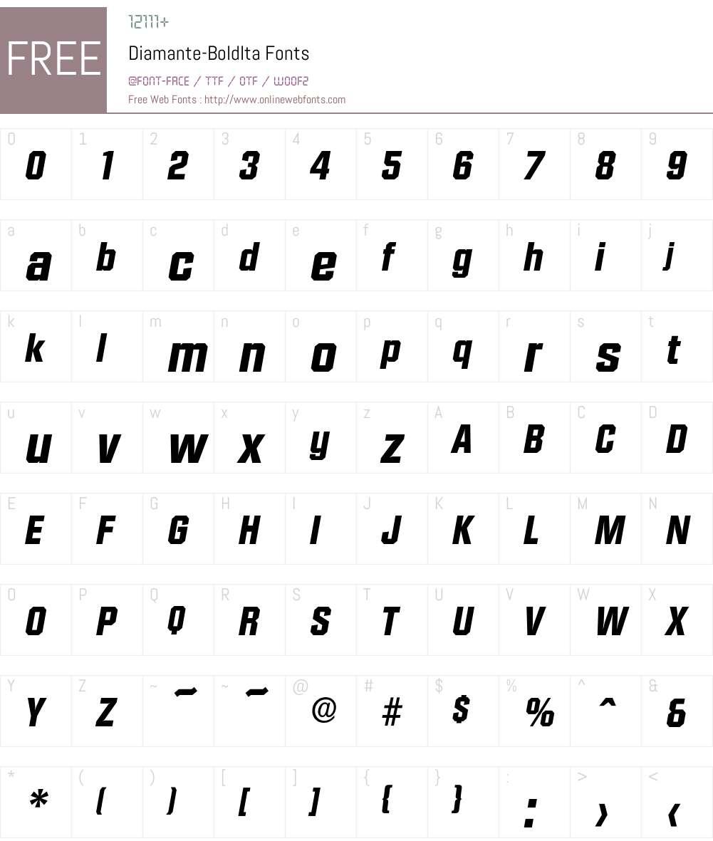 Diamante-BoldIta Font Screenshots