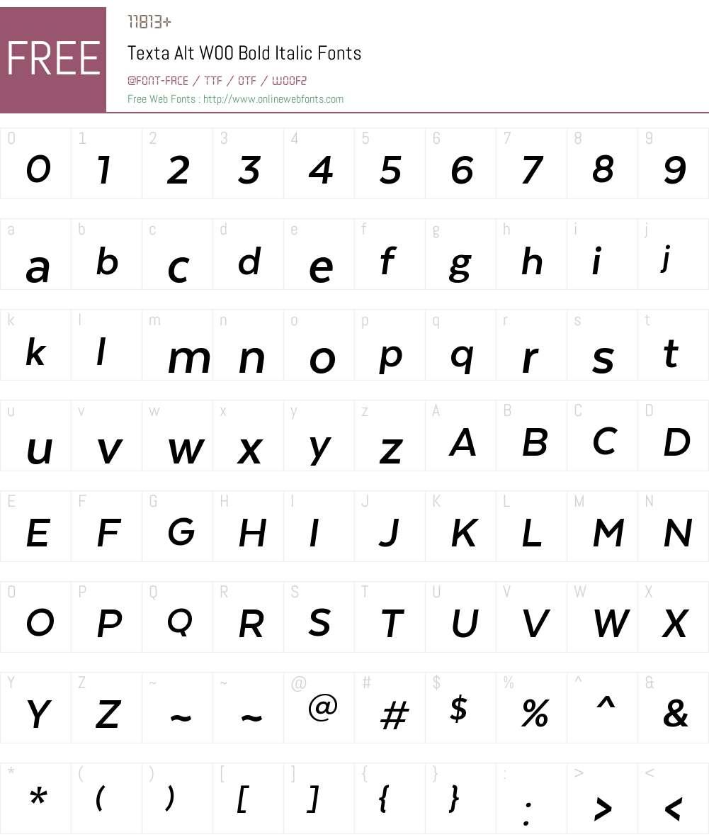 TextaAltW00-BoldItalic Font Screenshots