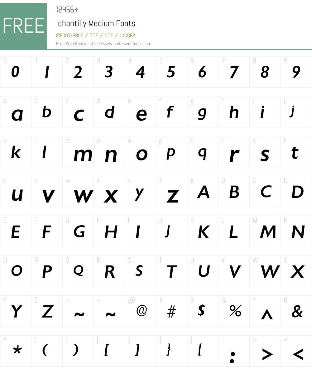 Ichantilly Font Screenshots