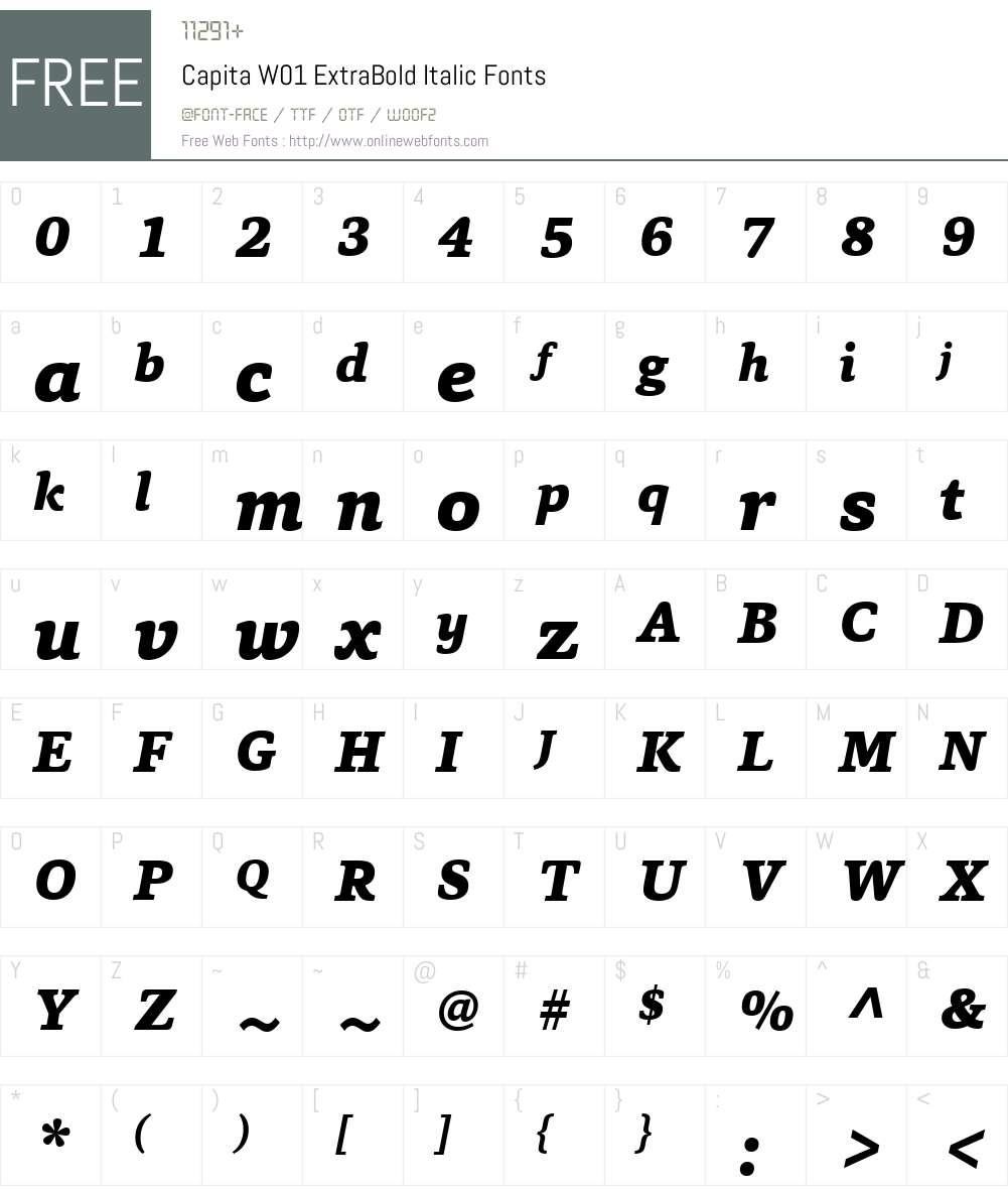 CapitaW01-ExtraBoldItalic Font Screenshots