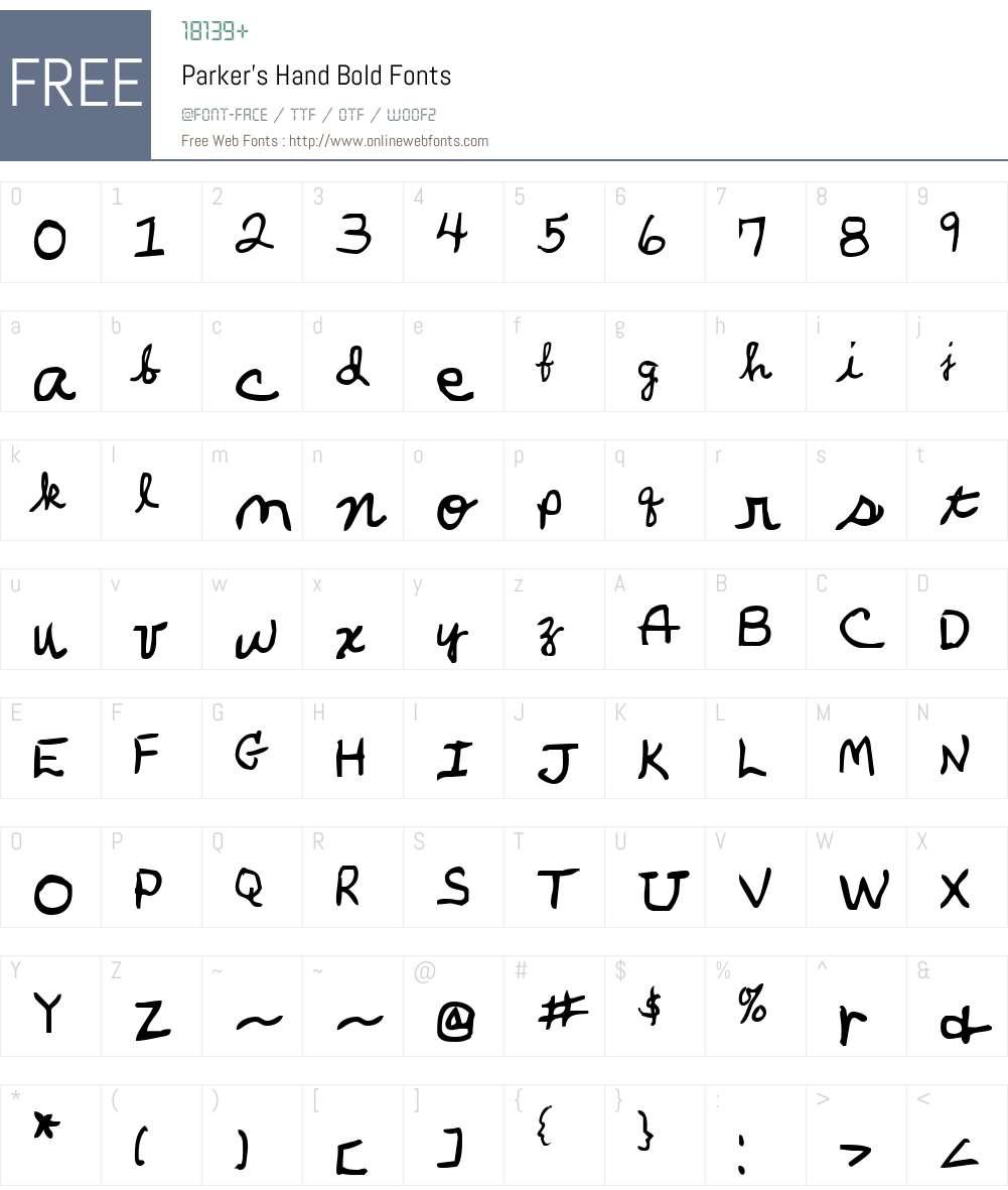 Parker's Hand Bold Font Screenshots