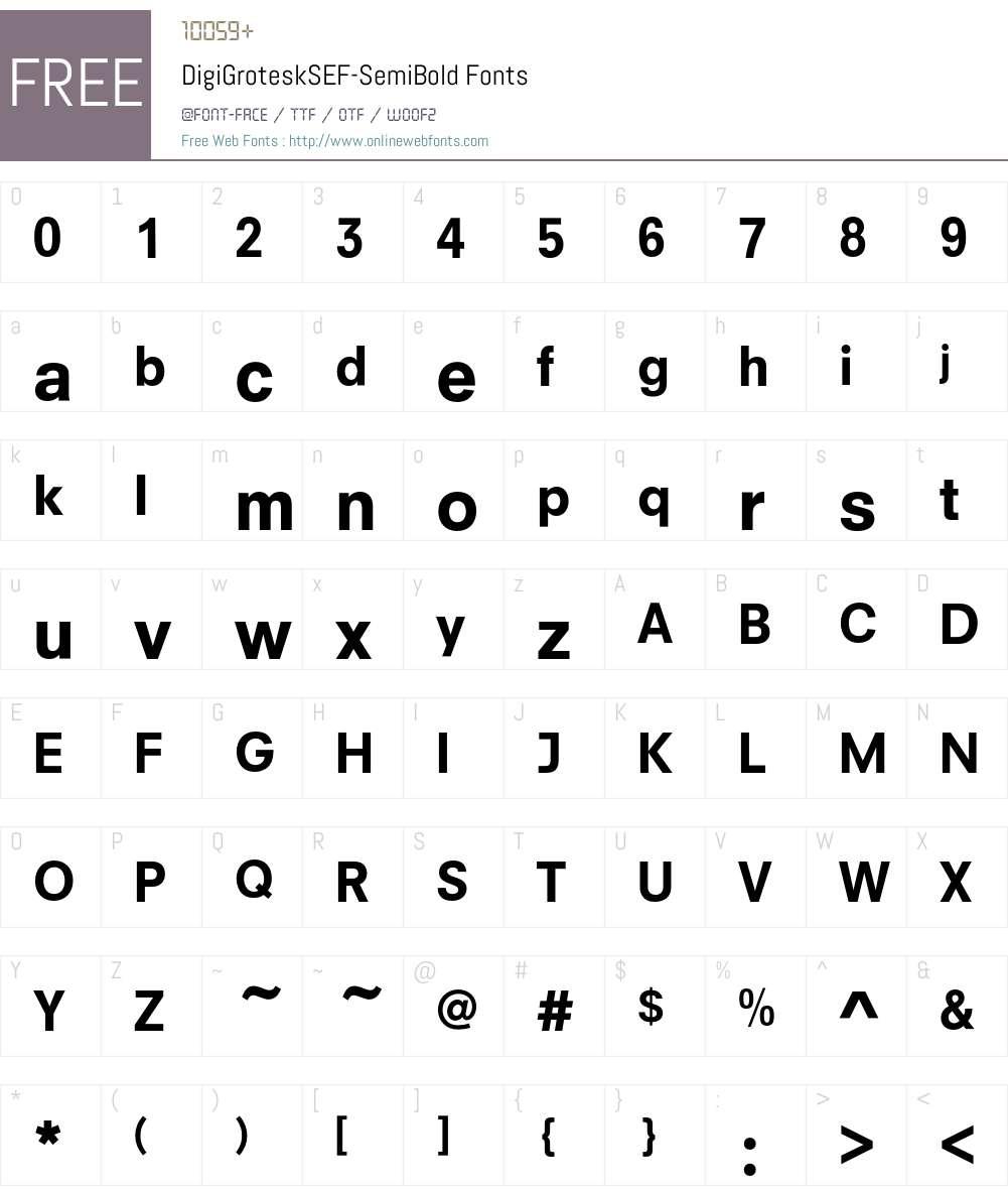 DigiGroteskSEF-SemiBold Font Screenshots