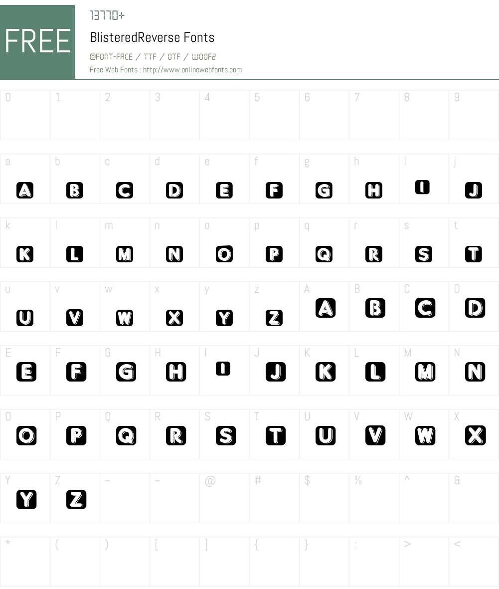 BlisteredReverse Font Screenshots