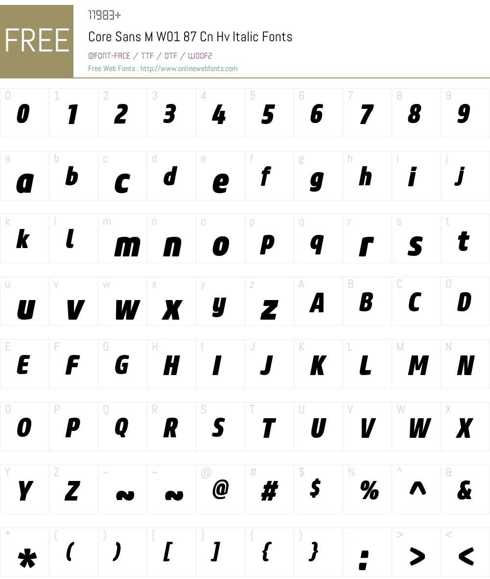 CoreSansMW01-87CnHvItalic Font Screenshots
