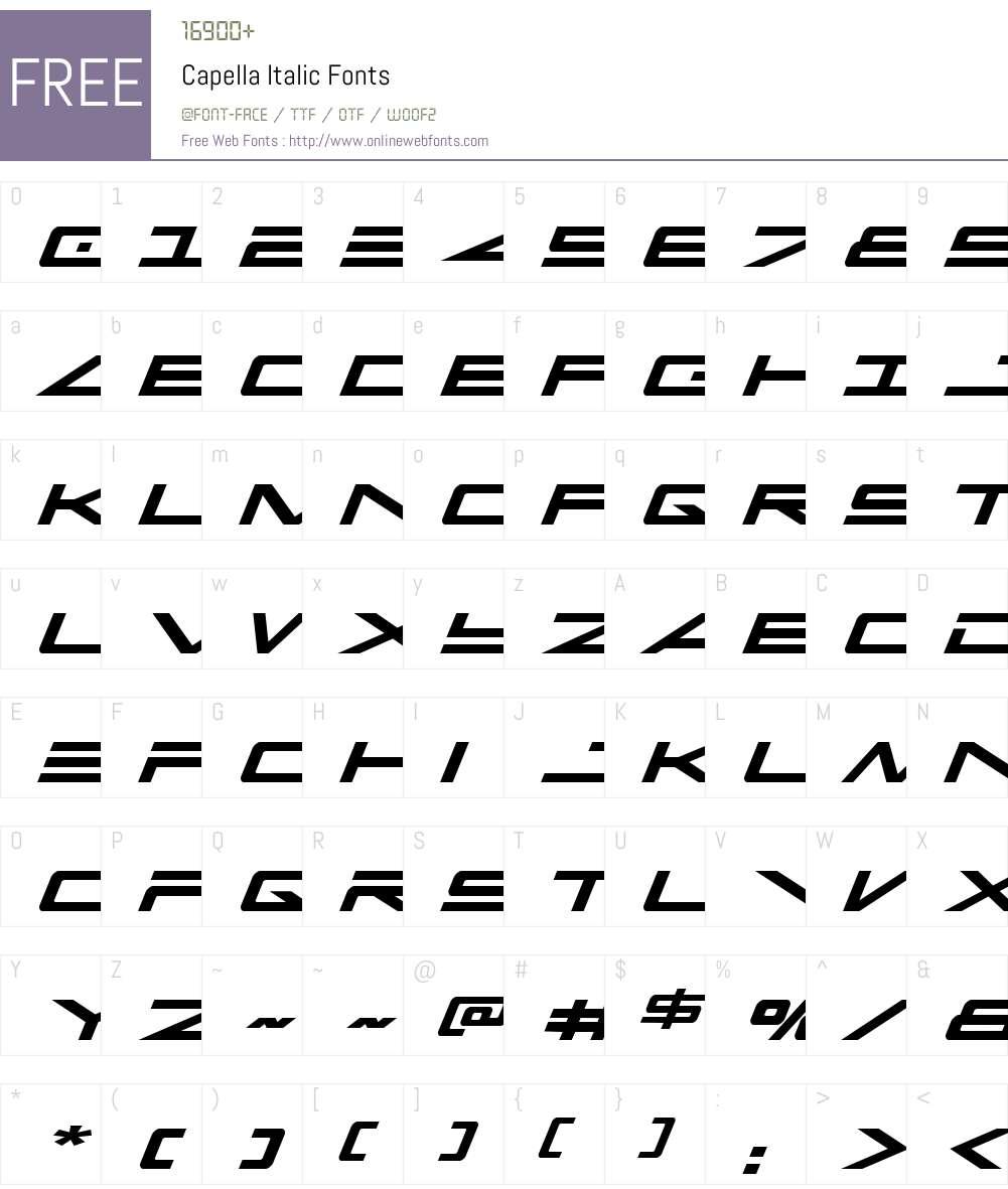 Capella Italic Font Screenshots